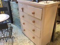 CHEST OF 5 DRAWERS PAINTED FRENCH COUNTRY STYLE OFF WHITE MAHOGANY EDWARDIAN