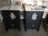 Black and silver bedside cabinets