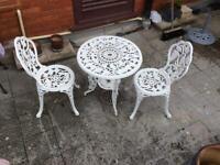 Elegant metal white patio set.