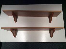 2 shelves for wall mounting light oak veneer