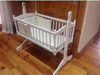Cot / crib solid wood white with mattress bumper and mattress cover