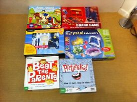 Boards games. microscope. crystal laboratory.