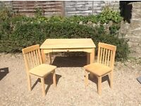 Attractive Neat wooden child's desk with matching chairs