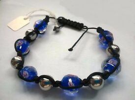 Murano Style Friendship Artistic Murano Blue Glass Bracelet (Adjustable)