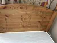 Child's wooden teddy bear bed like new