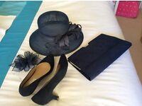 hat,shoes,handbag,belt,fascinator all navy for wedding