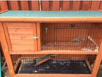 Wooden outdoor 2 level hutch