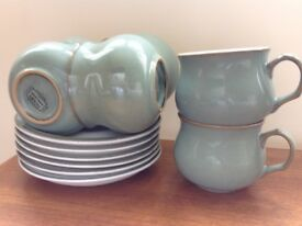 Denby Regency Green cups and saucers