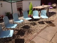 GARAGE CLEAROUT SIX MATCHING STACKING CHAIRS-can deliver