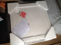 New 700 x 700mm shower tray with waste