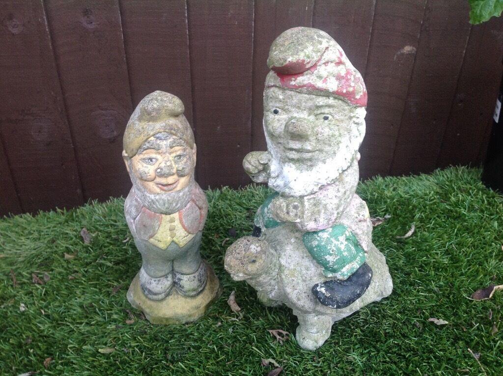 Gnome Garden: 2 Vintage Concrete Garden Gnomes