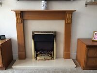 Dimplex Brass inset electric fire suite.