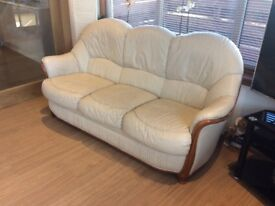 Cream Leather Sofa/Settee (3 seater plus 1 chair)