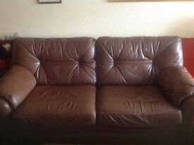 G plan 3 piece leather suite brown in colour in very good condition price reduced for quick sale