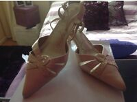 Ladies pale gold satin shoes