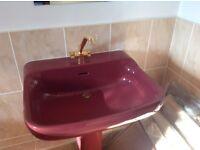 Bathroom vintage burgundy with gold taps