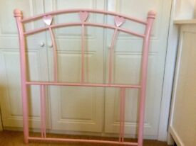 Headboard for single bed, pink heart metal frame