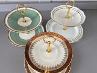 3 Mini Bone China 2 Tier Cake/Sweet/Biscuit Stands.