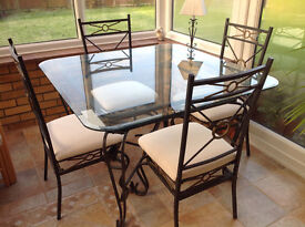 Glass Top Table Dining Table and 4 Chairs