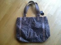 BRAND NEW WITH TAGS Leather Leopard Animal Faux Fur Print Handbag Shoulder Bag