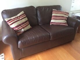 small Brown leather Sofa - 170cm x 84cm