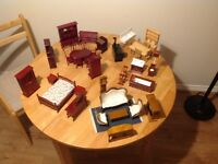 40 piece dolls house furniture 5 rooms Vic/Edwardian all as new