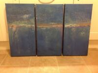 Trio of canvas painting - Sea breeze