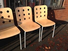 Four Light Wood Chairs