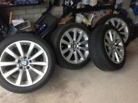 4 x BMW alloy wheels with part worn winter tyres 245/45 r18 (from a 520d 2010-16 model)
