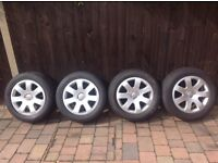 AUDI ALLOY WHEELS AND TYRES 215/55/16 X4 A4 VOLTSWAGON SKODA ETC EXCELLENT CONDITION, BARGAIN