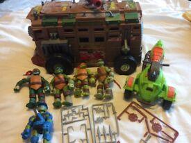 TMNT ninja turtles figures and vehicle