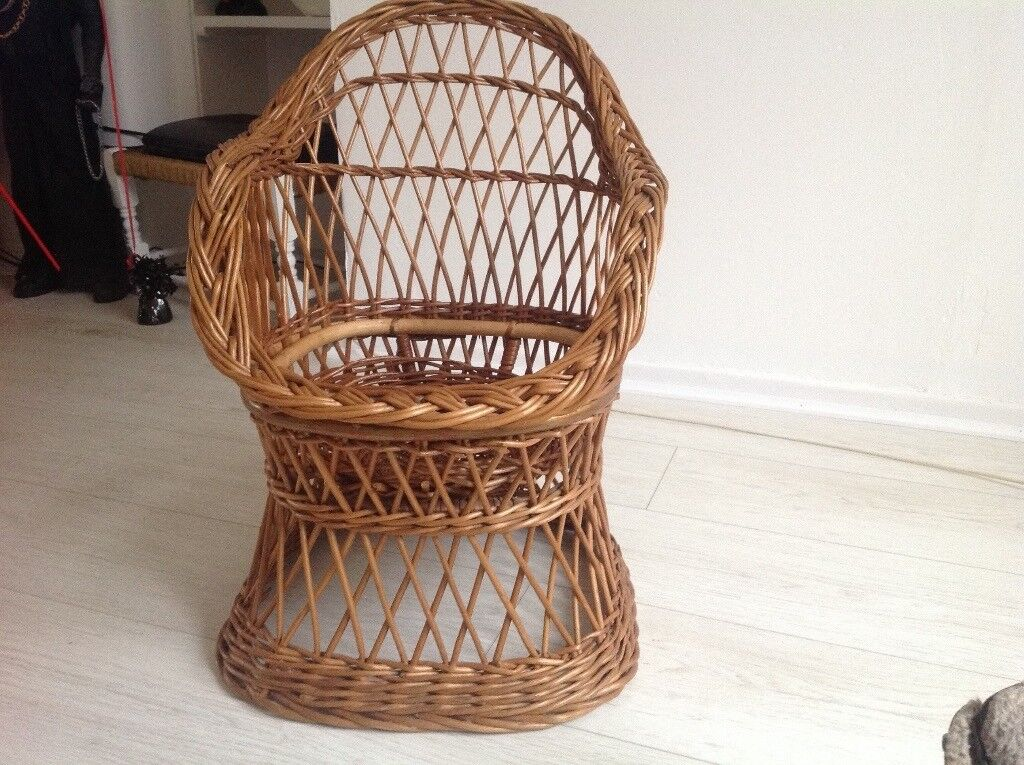 Childs Small Wicker Chair Kids Seat Cane