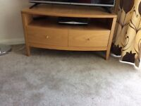 M&S oak TV cabinet with shelf and 2 drawers