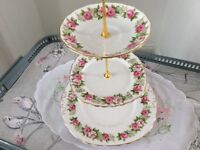 Bone China 3 Tier Cake Stand. Pink and Green Floral