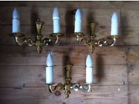 Set of 3 x Vintage Brass Wall Sconces Lights Dining Room Lighting / All Working Condition