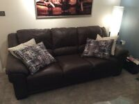 3 Seater brown leather sofa and armchair