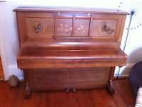 Bechstein Model V upright piano with beautiful inlaid case and candlesticks