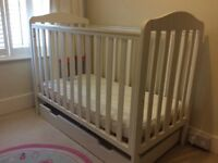 White wooden Mothercare baby cot & mattress & under drawer