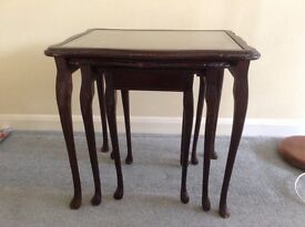 Nest of tables Set of 3. Dark wood with leather tops