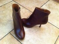 Gorgeous barely worn maroon leather Office ankle boots