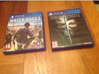 PS4 Dishonored 2 and watchdogs 2
