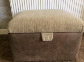 Three piece suite and pouffe