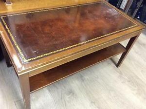 Coffee Table with Leather Inlay and Gold Embossing