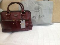 Ladies MODALU leather handbag 3 compartments colour (Ox blood)