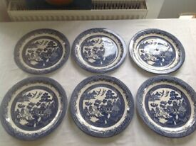 Six Large (32 cm)'Willow' Blue and White round platters by Churchill