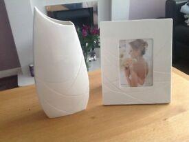Beleek vase and photo frame