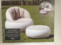 Inflatable Longue Chair & Footstool Ideal for gaming ~ NEW (Sealed Box)