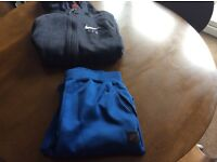 Boys blue Nike Air Max fabric joggers and Nike Air black and grey hoodie both age 12/13