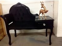 Stunning telephone table in black just reduced,lovely item,collection bootle
