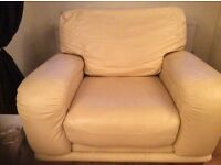 Leather sofa and armchair.Cream/pale yellow Good condition